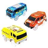 Deeabo 3 paquetes Track Cars, Reemplazo de Accesorios de Pista de Carreras de Luces con 5 Luces LED intermitentes, Magical Glow Track Car Toy para Niños Niñas