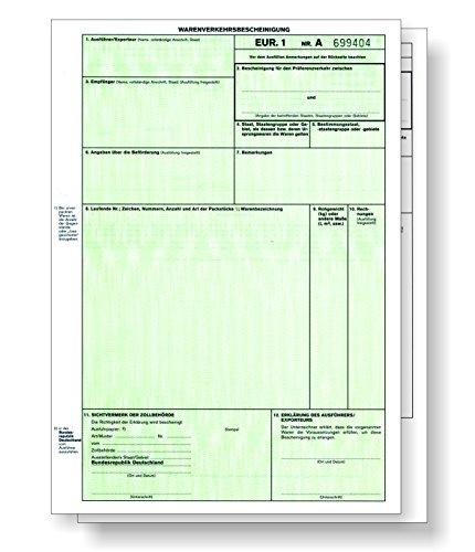 100 x EUR.1 / EUR1 Warenverkehrsbescheinigung 2-teilig für Laser- und Inkjetdrucker, Einzelblätter DIN A4 lose im Wechsel