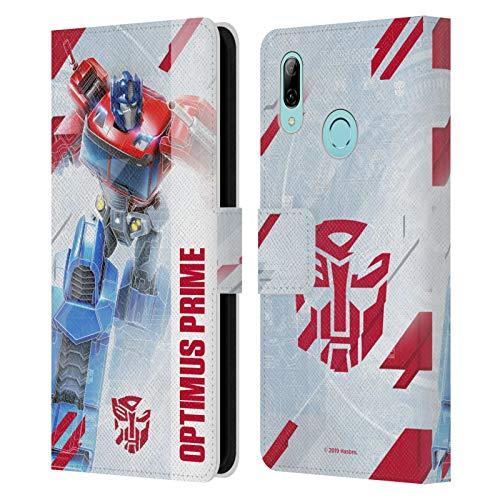Head Case Designs Oficial Transformers Optimus Prime Arte Clave de Autobots Carcasa de Cuero Tipo Libro Compatible con Huawei P Smart (2019)