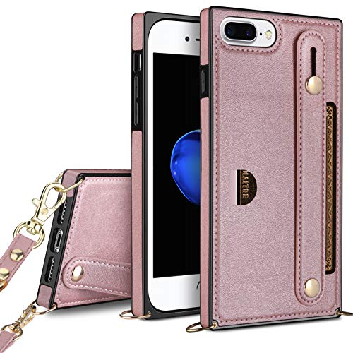 HianDier Compatible with iPhone 8 Plus 7 Plus 6 Plus 6s Plus Wallet Case Slim Protective Case with Hand Strap Holder Kickstand Lanyard Credit Card Slot Soft PU Leather Square Cover, Rose Gold