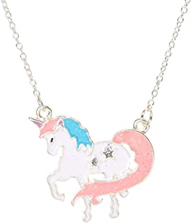 Girl's Pastel Glitter Unicorn Pendant Necklace
