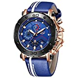 LIGE Orologio da Uomo Impermeabile Cronografo Orologio in Pelle Militare Sportivo Orologio da Polso Uomo Blu