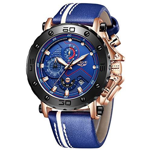 LIGE Relojes Hombre Cronógrafo a Prueba de Agua Moda Militar Deportivo Analógico Cuarzo Reloj para Hombre Azul