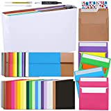 108 Sets 18 Colors A2 Invitation Envelopes Peel & Press Self Seal 4 3/8 x 5 3/4 Envelopes with Blank A2 Folded Cards Notecards for Wedding Shower RSVP Return Announcement DIY Greeting Cards Making