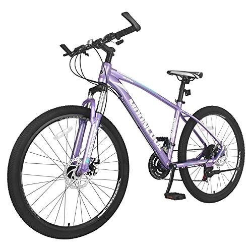 "H&ZT Adult Mountain Bike,26"" Wheels, Suspension Front, Shimano Twist Shifters Derailleurs, Aluminum Frame Dual-Disc Brakes, 21 Speeds, W/End Bars Unisex MTB Bikes"