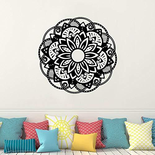 wZUN Mandala Flor Indio Yoga Etiqueta de la Pared Vinilo Artista decoración del hogar Sala de Estar Dormitorio calcomanía extraíble decoración Interior Mural 84x84cm