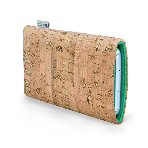 stilbag Funda para teléfono móvil Vigo para Xiaomi MI Mix 3 | Bolsa para Celular Smartphone Made in Germany | Natural con Corcho Dorado, Fieltro de Lana de Menta