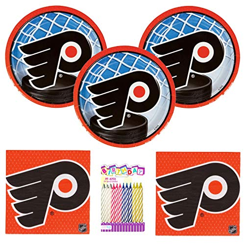 Amscan Philadelphia Flyer Party Supplies Pack Serves 16: 7' Plates, Napkins with Birthday Candles