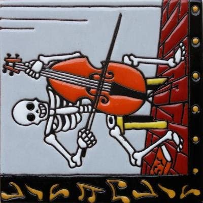 6x6 The Musician. Day-Of-The-Dead Clay Tile