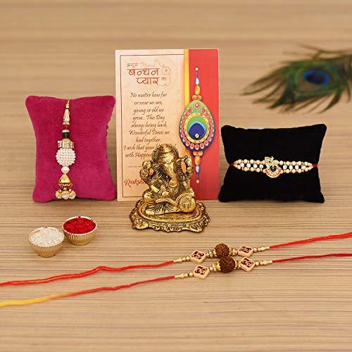 Collectible India Good Luck Rakhi Gift for Brother and Bhabhi,Rakshabandhan Gifts Combo for Brother Set - Rakhi for Rakshabandhan...