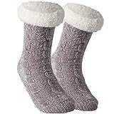Tacobear Zapatillas Casa Mujer Calcetines Antideslizantes Cálido Calcetines Invierno con suela Calcetines Zapatilla Gruesos Lana Calcetines de Piso para Mujer Hombres (Gris claro, sin pompom)