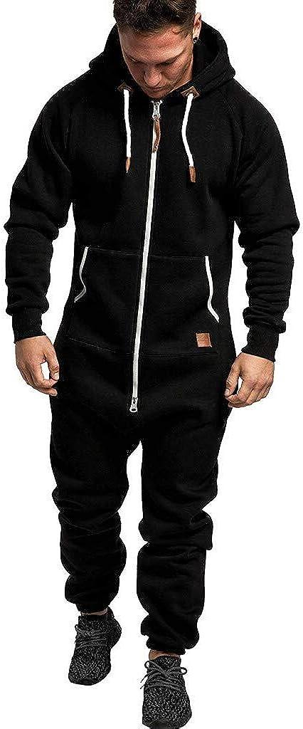 XUNFUN Mens Onesies Hooded Jumpsuits Zip Up One Piece Romper Pajama Playsuit Sleepwear Jogger Sweatsuit Overall Rompers