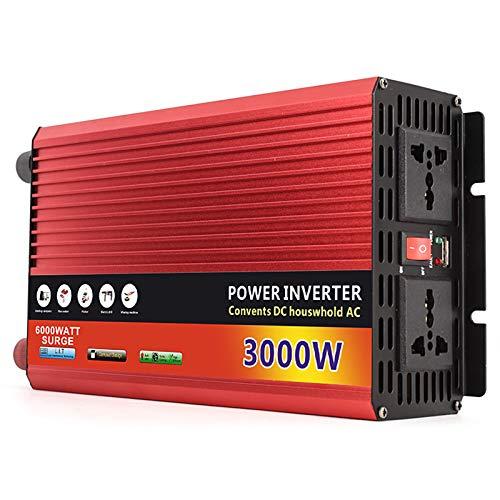 DDSGG Inversor de Energía de Onda Sinusoidal Pura de 3000 Vatios 12V / 24V / 48V / 60V DC a 220V AC Convertidor de Energía, 2 Tomas de CA y 1 Cargador de Coche USB Portátil para el Hogar