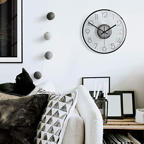 K&L Wall Art lautlose 30cm Große Wanduhr Wohnzimmer Wandbild Vollmond Glasbild minimalistische Uhr aus Glas mit Quarz Uhrwerk