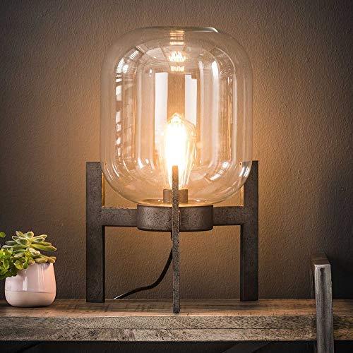 famlights Tischleuchte Stella aus Stahl und Glas, Silber, Transparent, 1x E27, Industrial Design | Tischlampe für...