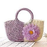 Bolso de mano de playa de verano para mujer, bolso de paja tejido a mano con flores populares, bolso de mano de malla con canasta de viaje informal para mujer, color morado