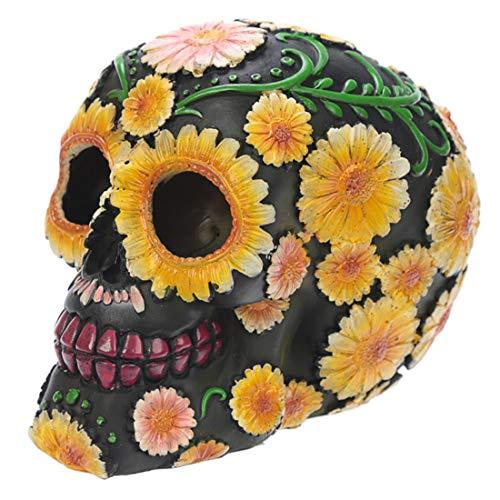 Puckator Decoración de calavera con motivos florales, polirresina, amarillo, verde, rosa, negro, 15 x 10,5 x 11,5 cm, resina, multicolor, 11,5 cm de alto x 10,5 cm de ancho x 15 cm de profundidad