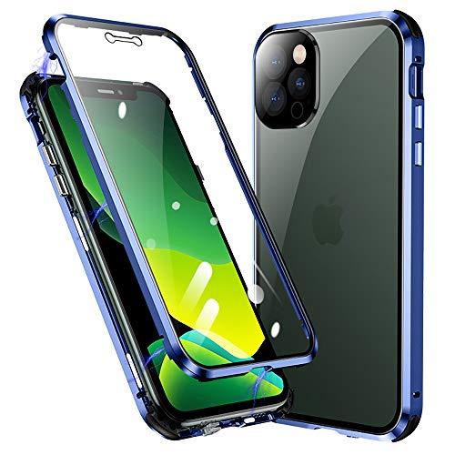 Jonwelsy Funda para iPhone 12 Pro MAX, 360 Grados Delantera y Trasera de Transparente Vidrio Templado Case, Fuerte Tecnología Adsorción Magnética Metal Bumper Cubierta para iPhone 12 Pro MAX (Azul)