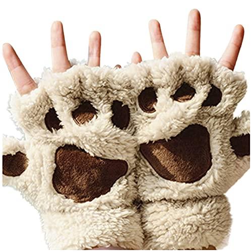 Women Winter Warm Cat Paw Claw Glove Stylish Fluffy Plush Fingerless Mittens Gloves Thick Halter Gloves Cartoon Gloves