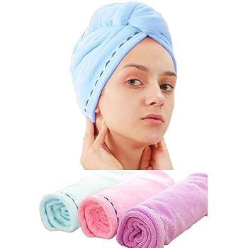 Queta 3 toallas de microfibra absorbente para el pelo, turbante, secado rápido, botones, toalla de baño para mujeres (rosa + azul + morado)