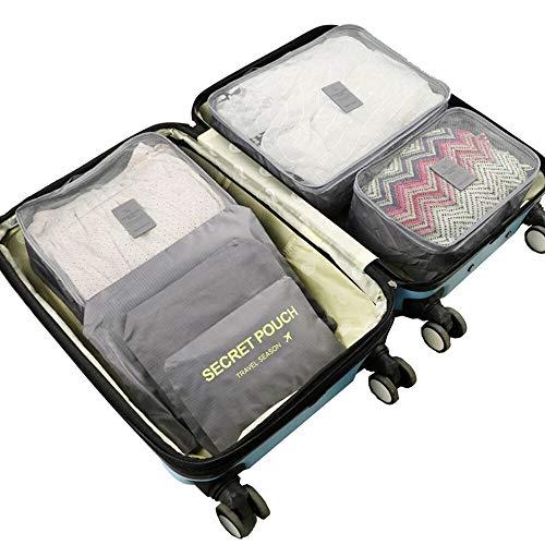 N / A 7 piezas de viaje colgante de compresión cubos de embalaje bolsa de almacenamiento maleta equipaje organizador de embalaje conjunto para ropa interior zapatos como se muestra en la muestra