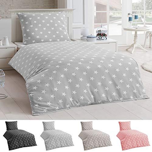 DreamHome 2 teilige Sterne Bettwäsche, Bettbezug in der Größe 135x200 und Kissenbezug 80x80 Farbe: Silber