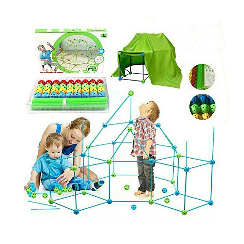 HTYA Kids Construction Fortress Building Kit, DIY Build Your Own Den Sets Kit Present Kids Tent Fort Building Gift with Tent