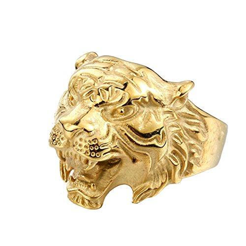 PAMTIER Hombres Acero Inoxidable Vendimia Gótico Biker Tigre Cabeza Ring Band Animal Diseño Oro Tamaño 17