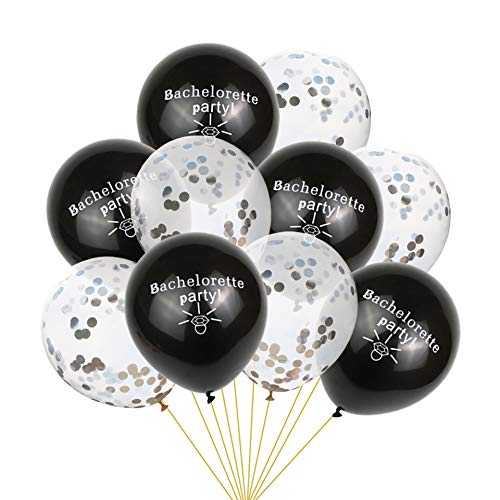 EVEYYQIU Bachelorette Ballon Konfettiballonset für Junggesellenabschied, 5 transparente Silberne Konfettiballons + 5 Schwarze Diamantringe