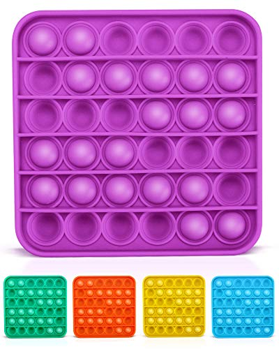 Lizber Push Pop Fidget Toy Push Pop Bubble Fidget Sensory Toy Bubble Popper Anxiety Relief Autism Toy Silicone Figetget Toy for ADD ADHD Popping Fidget Novelty Gift for Kids Adults Purple Square