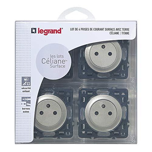 Legrand – Lot de 4 prises de Courant Céliane avec Terre Composable - 230 V – Titane - 200261