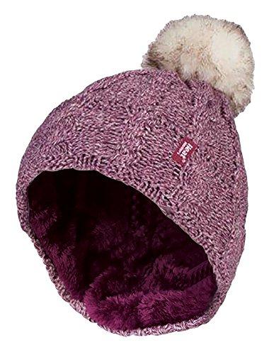 HEAT HOLDERS - Damen bunt Muster Winter Outdoor Fleece warm wintermütze/Beanie mütze mit Pompon bommel in 7 Farben (One Size, Pink)