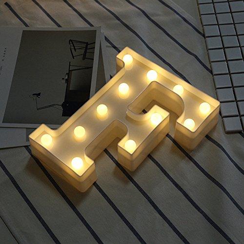 Janly Clearance Sale Letras LED del alfabeto iluminadas blancas de plástico colgando A, decoración del hogar para el día de Pascua (F)