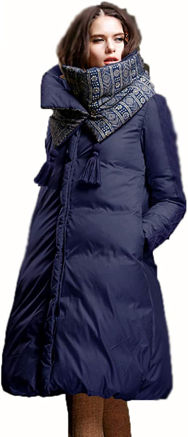 Jacket Women's Jacket Winter New Large Profile Jacket 90% White Duck Down Long Paragraph Over The Knee Down Jacket Profile Bread Service (color   bluee, Size   L)