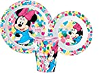 Minnie con lunares blancos Juego de comida escolar de Disney, plato de comida de mar, cuenco de plástico y vidrio reutilizable rígido para microondas Minnie Disney (1 plato, 1 taza, 1 cuenco)