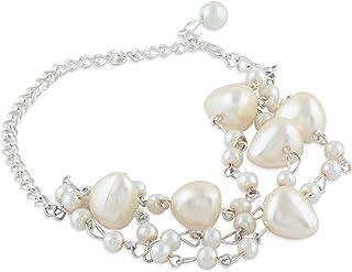 Zaveri Pearls Silver Tone Contemporary Pearls Multistrand Bracelet For Women-ZPFK10445