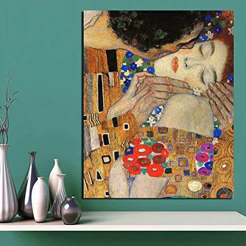 N / A Gustav Klimt Kiss Meaning Nordic Poster Leinwand Gemälde Wohnzimmer Heimdekoration Moderne Wandkunst Ölgemälde Poster Bild 20 x 30 cm ohne Rahmen
