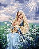 Pintura digital sin marco, pintura de madre e child por números, cuadro de bricolaje, pintura al óleo sobre lienzo para decoración del hogar, regalo 40X50Cm
