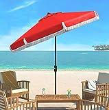 Safavieh PAT8008E Collection Milan Fringe Red and White 9Ft Crank Outdoor Push Button Tilt Umbrella
