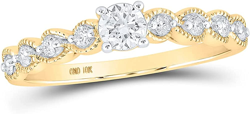 10kt Yellow Gold Round Diamond Solitaire Bridal Wedding Engagement Ring 1/3 Cttw