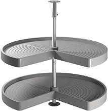Emuca - Set draaiende schalen voor keukenmeubels, 270º, unit 800 mm, Kunststof en aluminium, Grijs