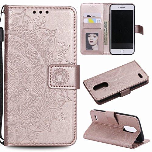 Laybomo für LG K7/X210 Ledertasche Schuzhülle Weiches TPU Silikon Cover Magnetisch Stehen Brieftasche Schale Handyhülle für LG K7/X210 mit Kartensteckplatz, Zauberarray (Roségold)