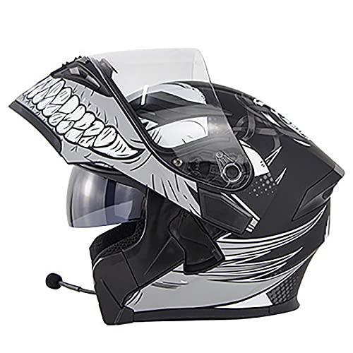 LKOP Casco De Motocicleta Bluetooth Dual Sombrilla Doble Auriculares Bluetooth Micrófono Four Seasons Solid ABS Material Hombres Y Mujeres Dot/ECE Aprobado G-XXL