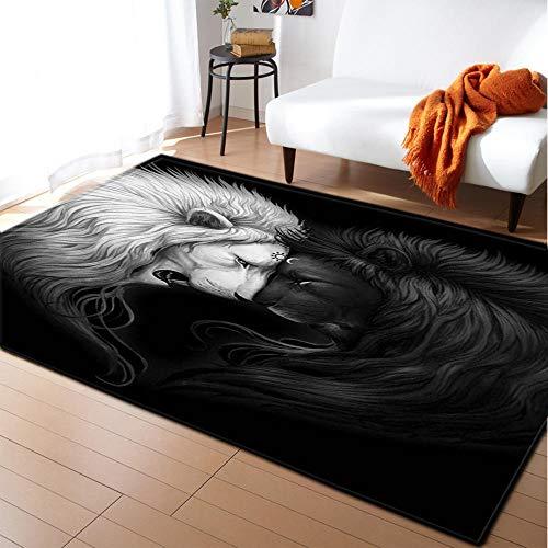 CQIIKJ Alfombra Estampada León Animal Blanco Negro Alfombra Antideslizante Alfombra Lavable 60 x 90 cm para la Entrada de casa, baño o Dormitorio Lavandería