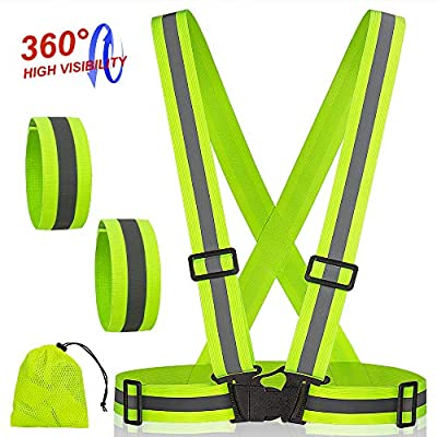 Reflective Safety Vest Running Gear - High Visibility Reflective Belt, Comfortable Elastic Polyester Fabric - for Men and Women to Run at Night, Cycling, Walk, Work - Green