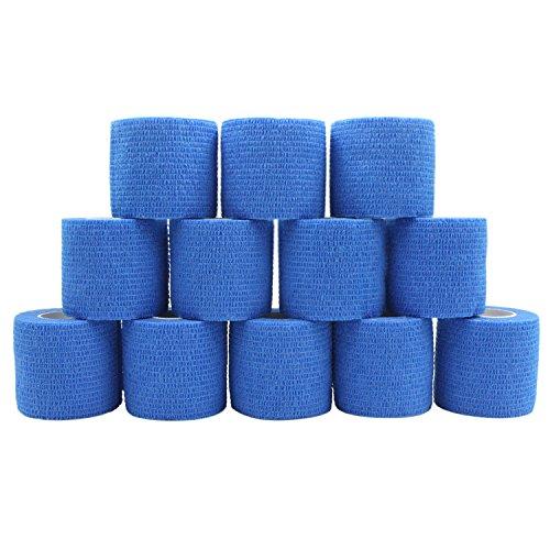 COMOmed Haftbandage Flexible selbsthaftende Bandage Haftbandage Rolle ohne Latex Vlies Athletic Tape alleray getestet für empfindliche Haut geeignet 5 cm x 4,5 m 12 Rolles blau