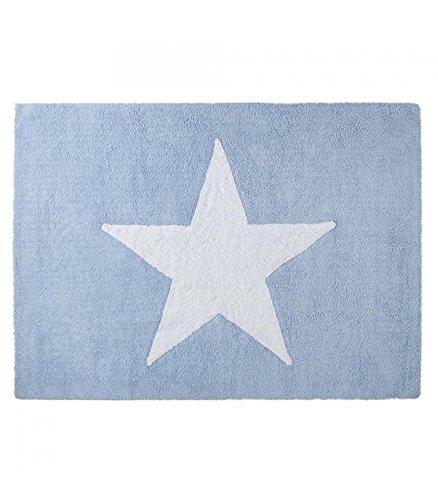 Happy Decor Kids -Alfombra Lavable Big Star 100% Algodón Natural -Azul- 160x120 cm