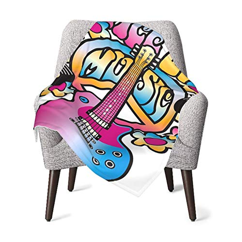 Baby Double Blanket Baby Quilt Groovy Decorations Peace Love Music Text With Peace Symbol Guitar Vinyl Records Flowers Musical Notes Bed Baby Blanket,Baby Comfort Blanket
