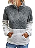 BTFBM Womens Sherpa Pullover Quarter Zip Long Sleeve Fluffy Soft Fleece Jackets Sweaters Sweatshirts Hoodies Outwear Coat (Grey, Large)
