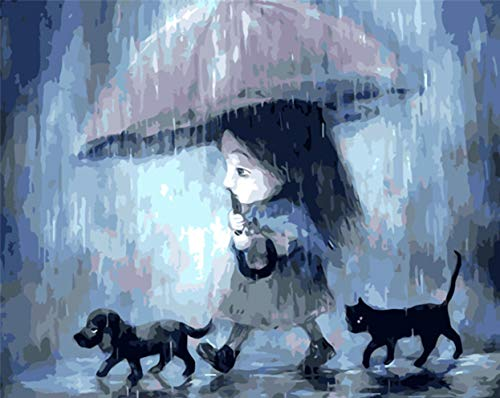 Pintura De Bricolaje Por Números,Niña Con Gato Negro Y Perro NegroPintado A Mano Pintura Sobre Lienzo Decoración Del Hogar Para Sala De Estar Regalo Pared Arte Imagen(40X50Cm)